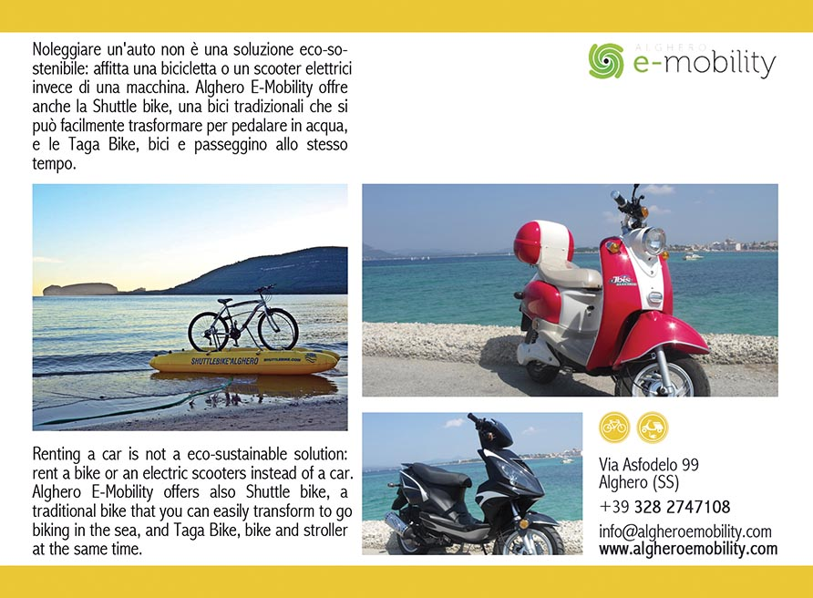 Alghero Sardinia rental bicycle scooters e-car